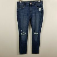 DL1961 Heath Amanda Low Rise Skinny Womens Dark Wash Distress Jeans Size 29