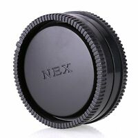 Black Rear Lens Cap + Camera Front Body Cover for Sony E-Mount NEX-3 NEX-5