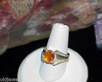 Sterling Silver Ring Orange Amber Cabochon Solitaire Filigree Size 6 Vintage