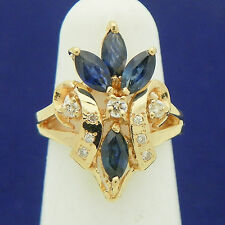 SAPPHIRE & DIAMOND ACCENTS COCKTAIL RING SOLID 14K GOLD 4.9g SIZE 4