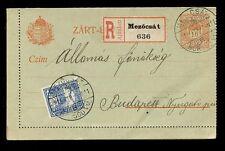 REGISTERED STATIONERY LETTERCARD 1915 HUNGARY MEZOCSAT UPRATED