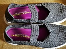Ladies Skechers UK Size 7 Sandals - Grey weave effect with silver thread