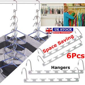 6PCS Space Saver Closet Organizer Storage Coat Clothes Hanger Magic Hook Metal