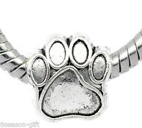 20 Gift Silver Tone Dog's Paw Beads Fit Charm Bracelet