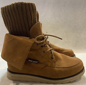 MUK LUKS Lace Up Foldable Brown Ankle Boots - Women Size 8