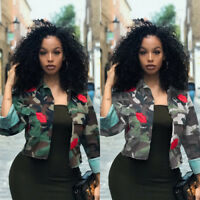 2019 Fashion Women Camouflage Military Army Short Shirt Jacket Outwear Coat Tops