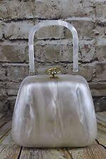 Vintage 1960 s Stylecraft nacré qualité lourde Lucite Joli Anneau Fermoir Sac Boîte