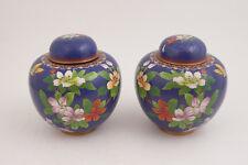 "Pair Jingfa Ginger Jars China Cloisonne Blue Flowers Butterflies (Hse) 6"" Tall"