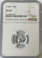 1964 Roosevelt Silver Dime NGC PF69