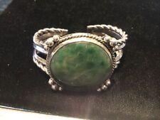 Vintage HAND MADE Southwestern Jade Is 35mm Round,Sterling Silver Cuff Bracelet