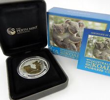 Australia: 2011 $1 1oz Silver Koala Gold Gilded, Scarce in Box & COA