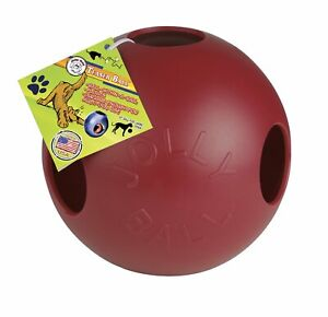 Jolly Pets Teaser Ball 10 inch Red   Hard Plastic plus Squeaker Toy for Dogs