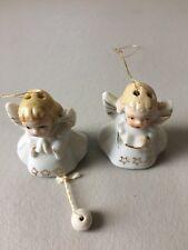 Antique 1950's Miniature Japanese Porcelain Angels Christmas Ornaments Set Of 2
