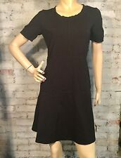 Athleta Cool Down SweatShirt Dress Small S Black Solid Short Sleeve