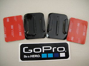2 x CURVE CURVED HELMET MOUNTS 3M STICKY PADS GOPRO HERO 3 4 5 6 7 8 9 + STICKER