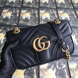 Gucci Gg Crossbody Marmont Calfskin Small Black Leather Shoulder Bag