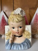 Vintage Girl Lady Head Vase Blonde Bologna Curls Flowers Ucagco 6""