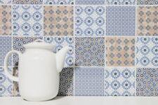 Mosaïque tuile rétro vintage céramique blanc bleu orange gris 22B-1404_b|1plaque