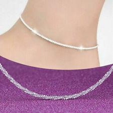Elegant Woman Sterling 925 Silver Foot Ankle Bracelet Chain Anklet Beach Jewlery
