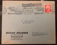 1935 Mannheim Germany Airmail Study Flight Cover To Hamburg