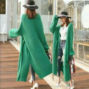 UK Ladies Fashion Split Knitted Cardigan Loose Coats Long Jackets Sweater Trench