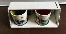 NIB 2015 Starbucks Indonesia Ubud Artsy Demitasse Mini Mug Set of 2 -No Card