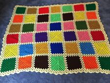 Handmade Afghan Floral Colorful Squares Cotton Yellow  Border 63x52 Bed Throw
