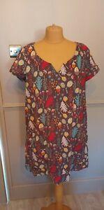 Mistral Needle Cord Dress UK 14 Pockets Autumn Print Leaves Acorns Cosy Tunic