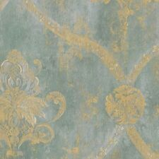 Wallpaper Gold Regal French Large Damask on Aqua Blue Faux Textured Background