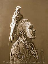 Reprint PHOTOGRAPH Vintage Native American Indian Two Whistles CROW MEDICINE MAN