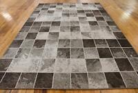 7 x 10 feet Modern Contemporary Geometric Area Rug Checkered Pattern Brown White