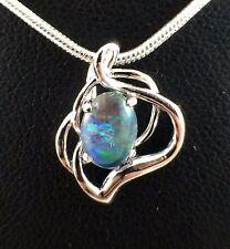 Unique Aus Triplet Opal Necklace and Pendant Twice 18ct White Gold Plated w Cert