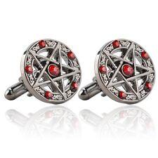 Pentagram Silver Red Cufflinks Goth Gothic Formal Wedding Office UK Seller