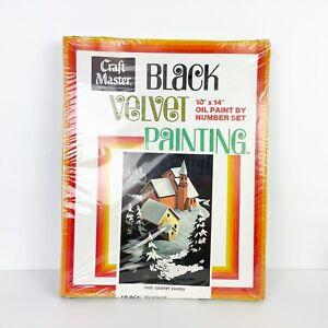 Vintage Mastercrafts Black Velvet Oil Paint By Number Sealed in Original Box
