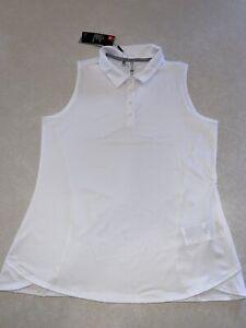 Under Armour UA Zinger White Sleeveless Golf Polo Shirt Women's Size Large NWT