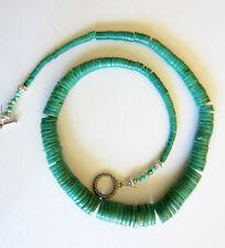 """Santo Domingo Graduated Dyed Turquoise Heishi Toggle Necklace 18"""""""