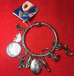 NWT Green Rhino Metal Key Charms Bracelet Keychain, Pendants, Bell, Animals