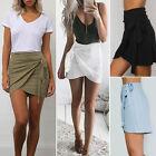 Femmes à carreaux Irrégulière plissé Taille Haute Fête Mini Jupe ligne-A