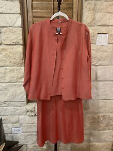 Eileen Fisher Women's 3 Piece Skirt Jacket Tank Italian Linen Blend Size Large