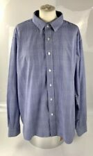 Cotton Traders Blue White Check Button Up Dress Shirt Long Sleeve Collared XL