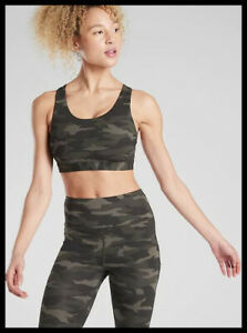 Athleta NWT Women's Ultimate Printed Bra D-DD Size Med Color  Olive Camo