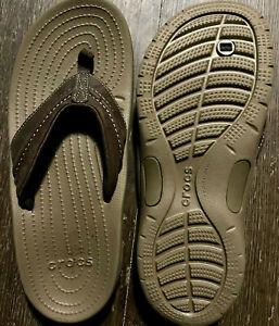 CROCS SANTA CRUZ Leather Strap FLIP FLOPS * MEN'S SIZE 9 - BROWN / ESPRESSO