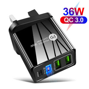4 Multi-Port Fast Quick Charge QC 3.0 USB HUB Mains Wall Charger Adapter PD Plug