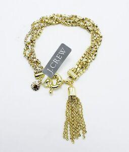 J.CREW Gold Rhinestone Tassel Bracelet New with $75 Tags #21251