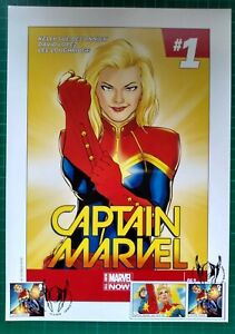 CAPTAIN MARVEL 2014 A4 Cover Reprint with 2019 Stamps FIRST DAY