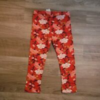 Girls Red orange floral Leggings  size 3T Old Navy full length NEW nwt tags