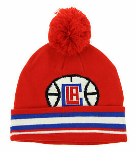 Adidas NBA Youth Los Angeles Clippers Cuffed Knit Hat with Pom, Red