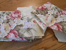 """Cotton fabric: quilt sew yardage strips 1yd x 9"""" pale yellow, sage, red floral"""