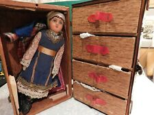"""Antique 16"""" Paper Mache Doll With Trunk and Clothes."""