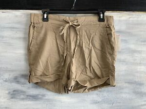 NEW! JOE FRESH Solid Linen Blend Drawstring Cuffed Shorts, S M XL - Tan